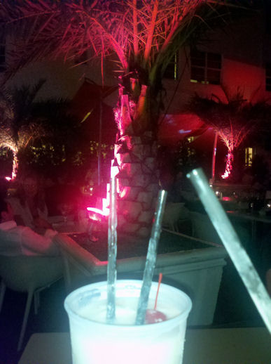 An $18 pina colada at a tourist trap on Ocean Dr.
