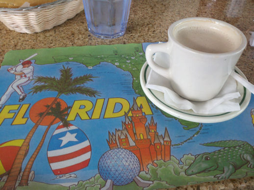 cafe con leche at a Cuban diner
