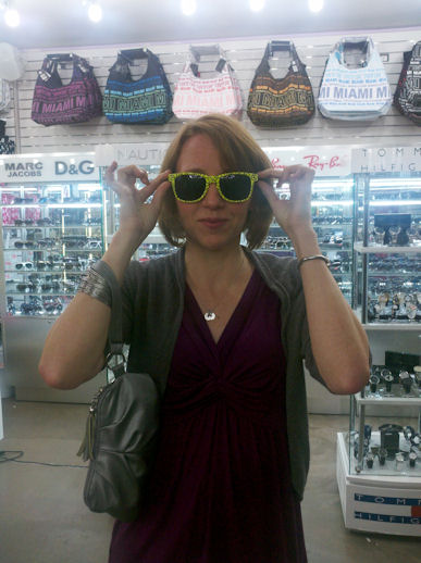 Trying on sunglasses in Miami