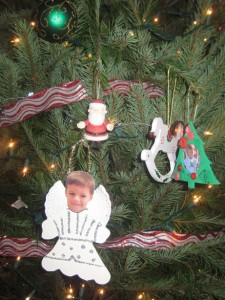 Homemade ornaments on the Christmas tree