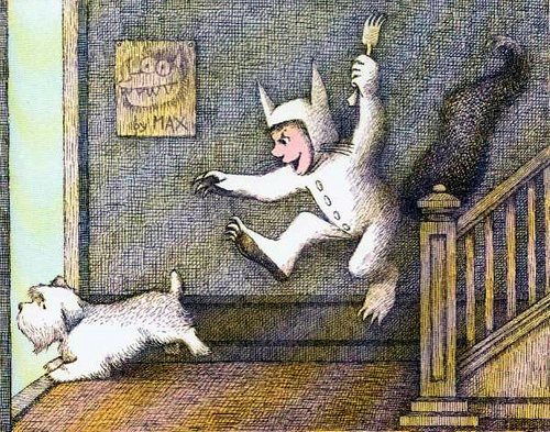 Max, from Where the Wild Things Are, chasing the dog with a fork