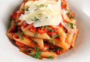 penne pasta with sauce and cheese