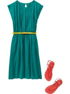 Teal dress with yellow belt, Old Navy