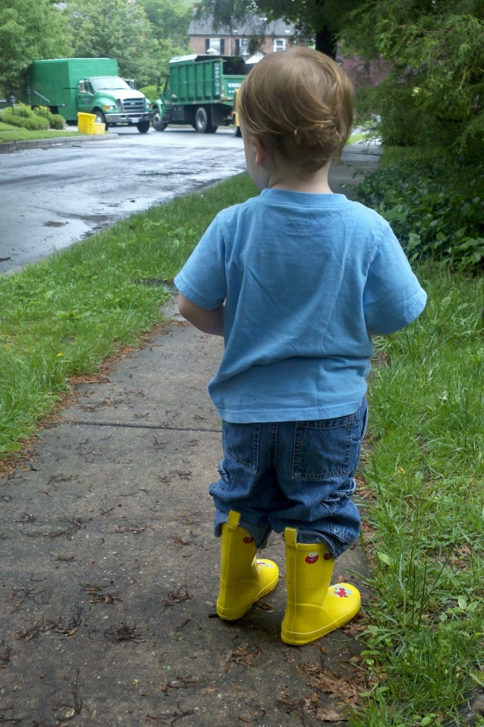 Riley in yellow boots