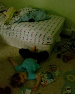Passed out on the floor, post-tantrum