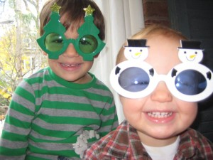 Boys wearing funny glasses