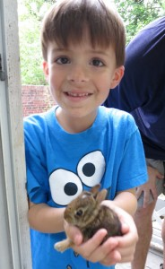 Miles holding a baby bunny