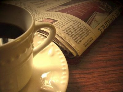 cup of coffee and morning paper