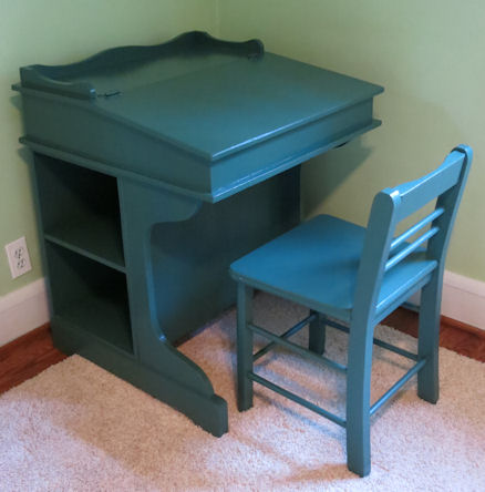 painted green wooden desk