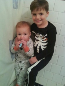 The boys wearing Halloween PJs, Oct. 2010