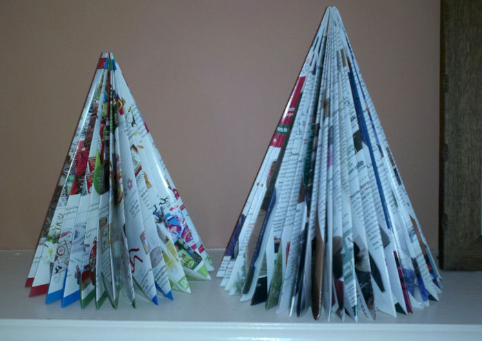 paper Christmas trees made out of old magazines