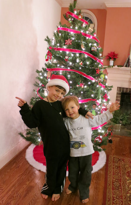 Boys in front of the Christmas tree