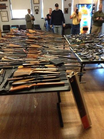 guns collected at Baltimore's Goods for Guns, Dec. 15, 2012