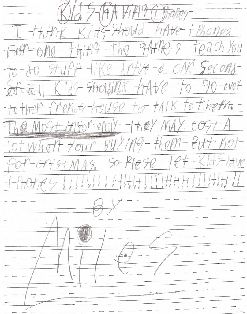 My first-grader's essay on why kids should have iPhones