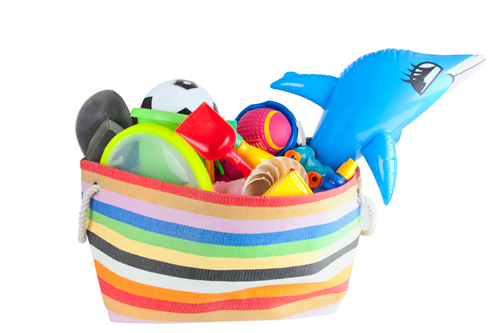 tote bag filled with pool toys