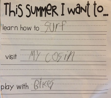 my son's summer to-do list