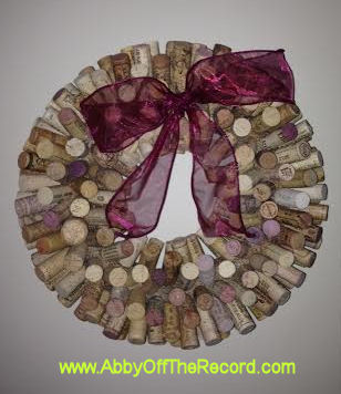 completed DIY wine cork wreath