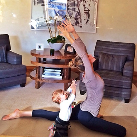 Gisele Bundchen doing yoga with her baby, courtesy of Instagram