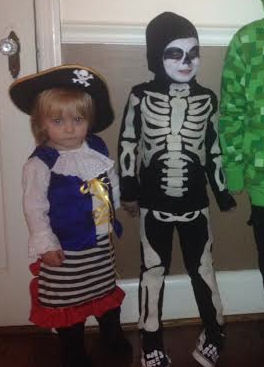 pirate lass and skeleton costumes, made by Mom