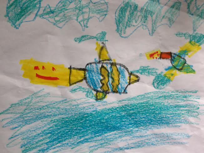 drawing of the Blue Angels, by a 5yo