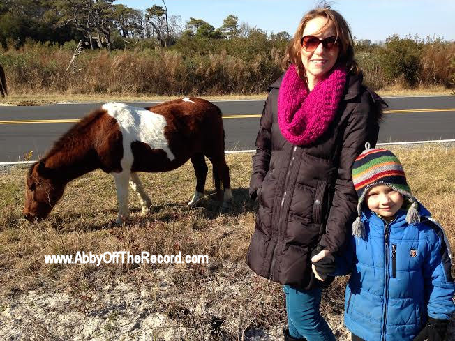 woman and boy with wild horses on Assateague Island