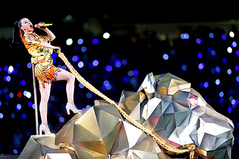 2015 Super Bowl halftime show - katy perry on tiger, from US Weekly