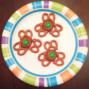 Pretzel and Rolo shamrocks