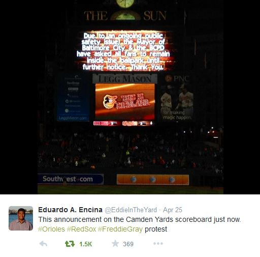 Tweet: Camden Yards lockdown April 25
