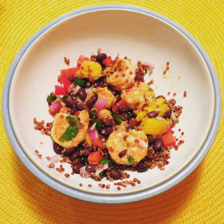 chili-lime shrimp bowls over quinoa with black bean-mango salsa