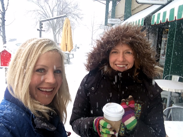 Abby and Angie in Baltimore during a blizzard
