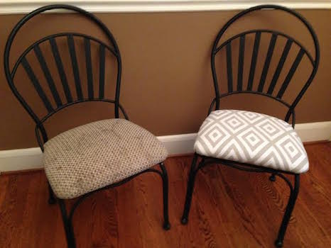 Chair seat covers before and after