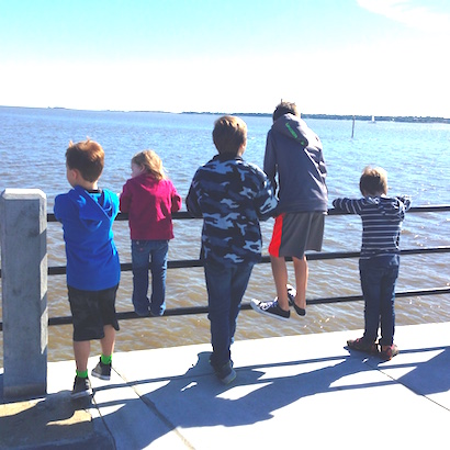 All our kids at the Battery in Charleston