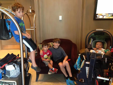 5 kids, 2 moms, and a mountain o' luggage!