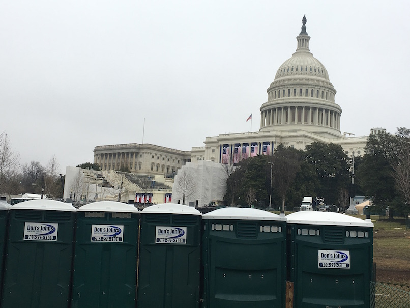 Don's Johns portapotties set up for the presidential inauguration in Washington DC, Jan 21, 2017