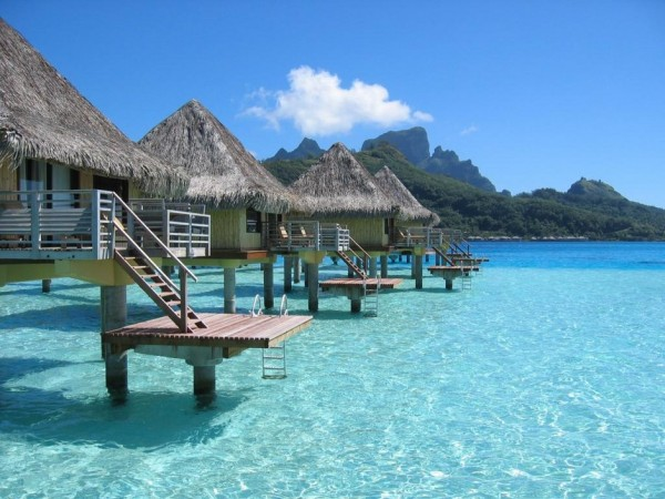 Over-water bungalows in French Polynesia