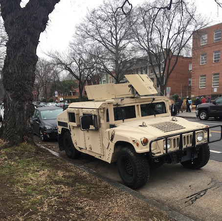 National Guard Humvees in Capitol Hill, Jan 21, 2017