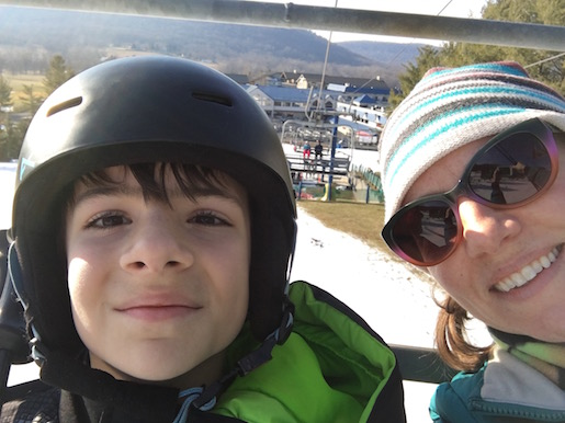 Me and my boy on the chairlift at Liberty Mountain.