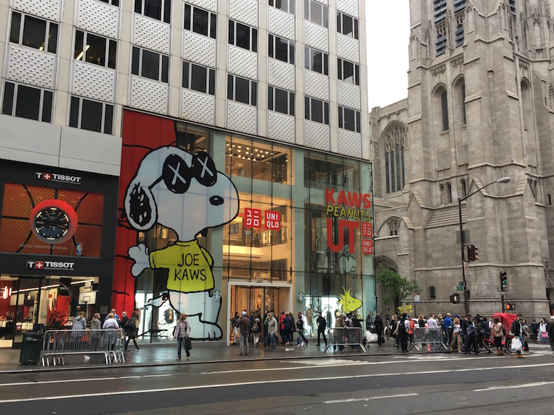 New York City street; Snoopy mural