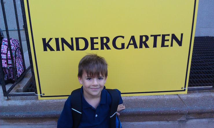 My older son 6 years ago on the first day of kindergarten