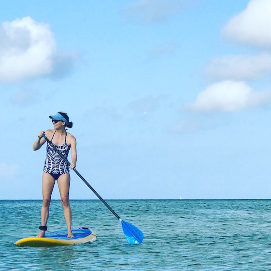 Me, stand-up paddle boarding in Siesta Key