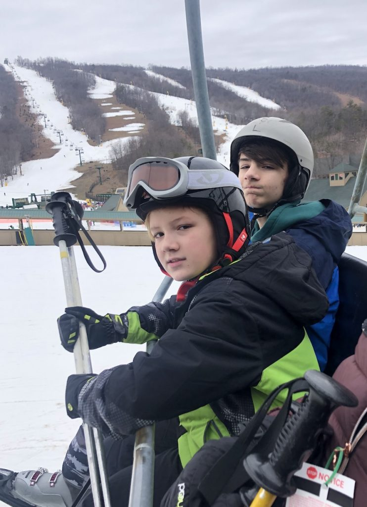 My sons, ages 11 and 13, on a ski lift earlier this year