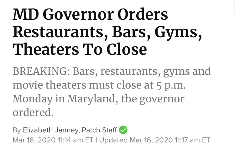 MD Governor Orders Restaurants, Bars, Gyms, Theaters to Close as of March 16 at 5 p.m.
